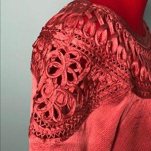 Sundance Tops - SUNDANCE Coral/ copper silk woven ribbon top GUC